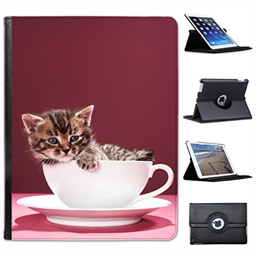 Kitten Sat in China Cup & Saucer Tea Set for Apple iPad 2, 3 & 4 Faux Leather Folio Presenter Case Cover Bag with Stand Capability