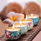 Scented Candles Jasmine,Lotus,Lilac Blossoms & White Gardenia,Natural Soy Wax Portable Travel Tin Candle,Set Gift of 4