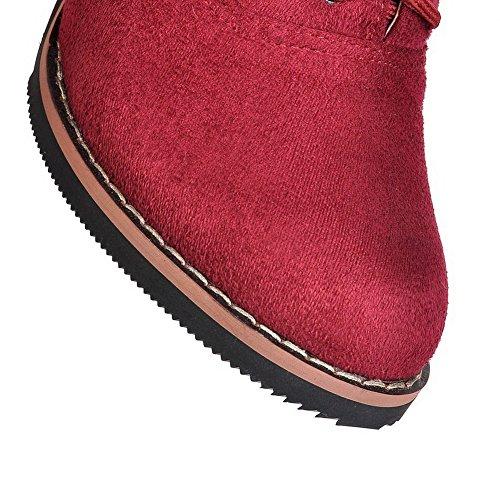 AllhqFashion Mujeres Tobillo Sólido Cordones Tacón ancho Botas con Nudo Rojo