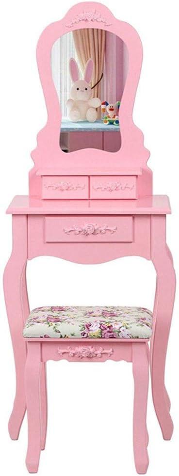 Tocador Dormitorio Dresser Vanidad Juego de mesa con espejo de heces del organizador del almacenaje for el hogar Muebles dormitorio elegante Dresser madera (Color : Pink , Size : 50*30*136cm) : Amazon.es: Hogar