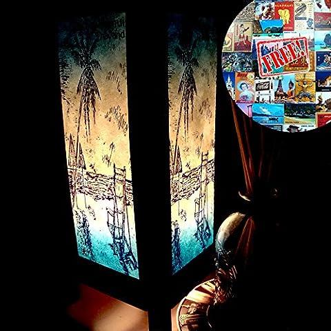 Samui Island Beach Blue Handmade Asian Oriental Wood Light Night Lamp Shade Table Desk Art Gift Home Vintage Bedroom Bedside Garden Living Room; Free Adapter; a Us 2 Pin Plug (Lamps For Bedrooms Beach)