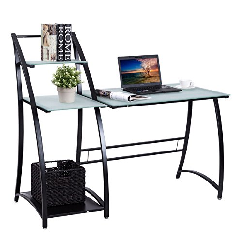 Tangkula Computer Desk Glass Top Computer Workstation Compact Home Office Desk Laptop PC Workstation Study Writing Desk with Spacious Glass Work Surface & 3 Storage Shelves Writing Table