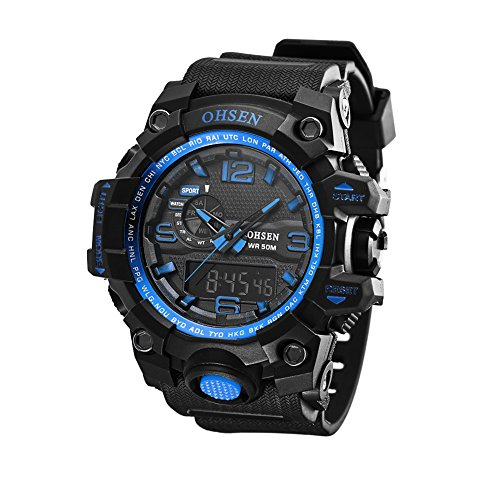 efdf05860c42 OHSEN Men Quartz Watch Waterproof Sport Digital Chronograph Watch(Blue)