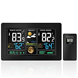 Wireless Forecast Station, Protmex PT3378 Digital Color Forecast Weather Station with Alert and Temperature/Humidity/Barometer/Alarm/Moon phase/Atomic Clock and USB Charging with Outdoor Sensor Black
