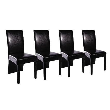 Vidaxl 4x Chaise Salle A Manger Noir Meuble Chaise De Cuisine Chaise