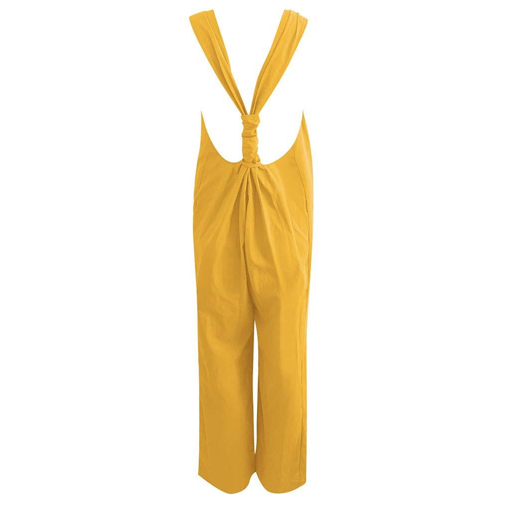 Ansenesna Pantalones Mujer Verano 2019 Largos Moda Casual Color S/óLido Babero Pastoral Simple Babero Jumpsuit