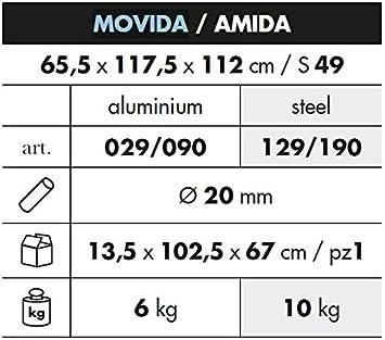 Multiposizione E RICHIUDIBILE Made in Italy per Uso Esterno Interno Modello 029TX MOVIDA Poltrona Sdraio Relax con Telaio in Alluminio con Tessuto in TEXTILENE Colore Giallo