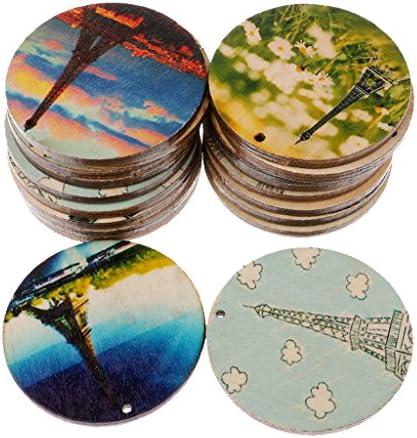 20枚 丸形 塗装木片 贈り物 風景図 木製タグ 家庭パーティー飾り スクラップブッキング