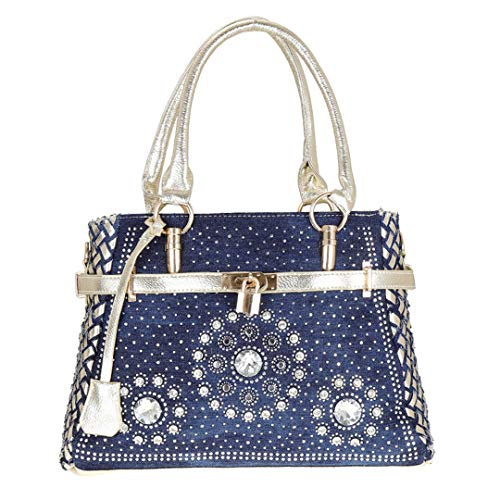 NEW Fashion Womens Handbag Shoulder Bags Patchwork Jean Style And Crystal Decoration Blue Bag Cowboy bluegold