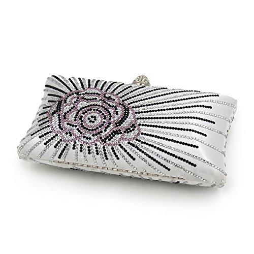Flada mujeres y señoras caliente perforación rhinestones flor noche embrague bolso monedero con cadena verde Plata