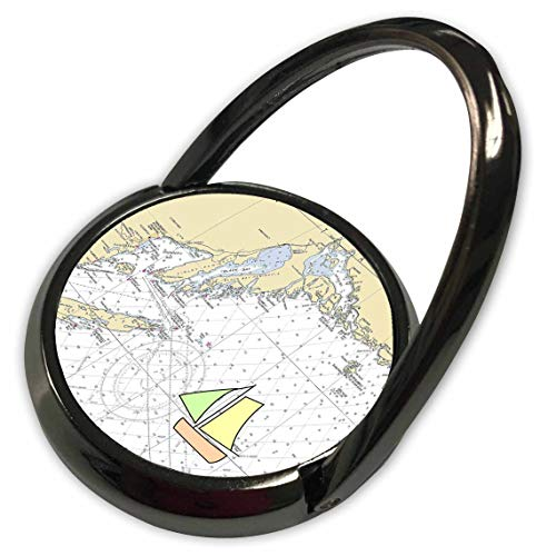 - 3dRose Lens Art by Florene - Nautical Maps - Image of Nautical Map of Thunder Bay Michigan with Sailboat - Phone Ring (phr_317555_1)