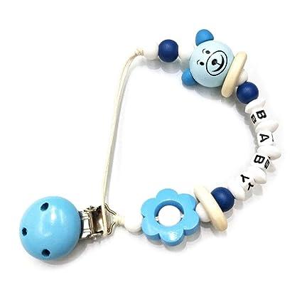 MIsha Cadena de chupete Clip chupete anti-gota Tenedor del pezón del bebé juguete de bebe, Perlas de silicona de grado alimenticio (Azul)