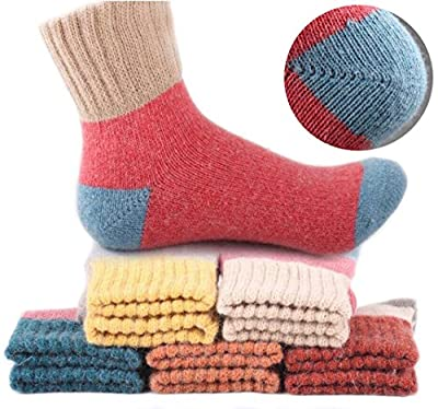 Yshare Women's Crew Soft Wool Winter Comfortable Warm Socks - One Size (5-9) - Multicolor, (Pack of 5])