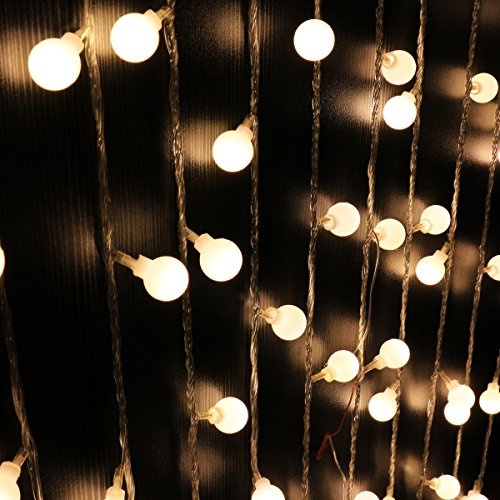 Ball String Lights,Mulcolor 100 LED 33ft/10m Globe Fairy Lights Christmas Lights for Garden Patio Party and Holiday Decoration,6 Lighting Modes (Warm White )