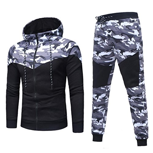 Mens Sports Suits Charberry Camo Sportswear Men's Autumn Winter Camouflage Sweatshirt Top Pants Sets (US-L/CN-XL, Black) from Charberry