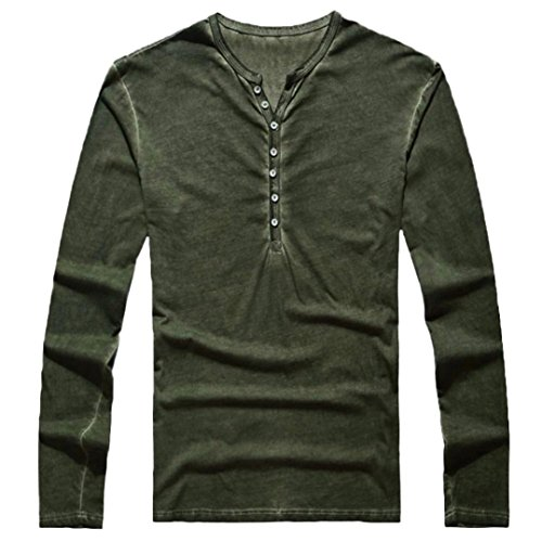 - Easytoy Mens Vintage Solid Henley T-Shirts Long Sleeve Crew V Neck with Button Slim Fit Thermal Classic Cotton Tops (Green, L)