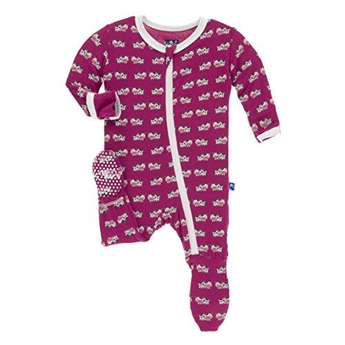 KicKee Pants Little Girls Print Footie (Zipper) - Berry Cow, Newborn