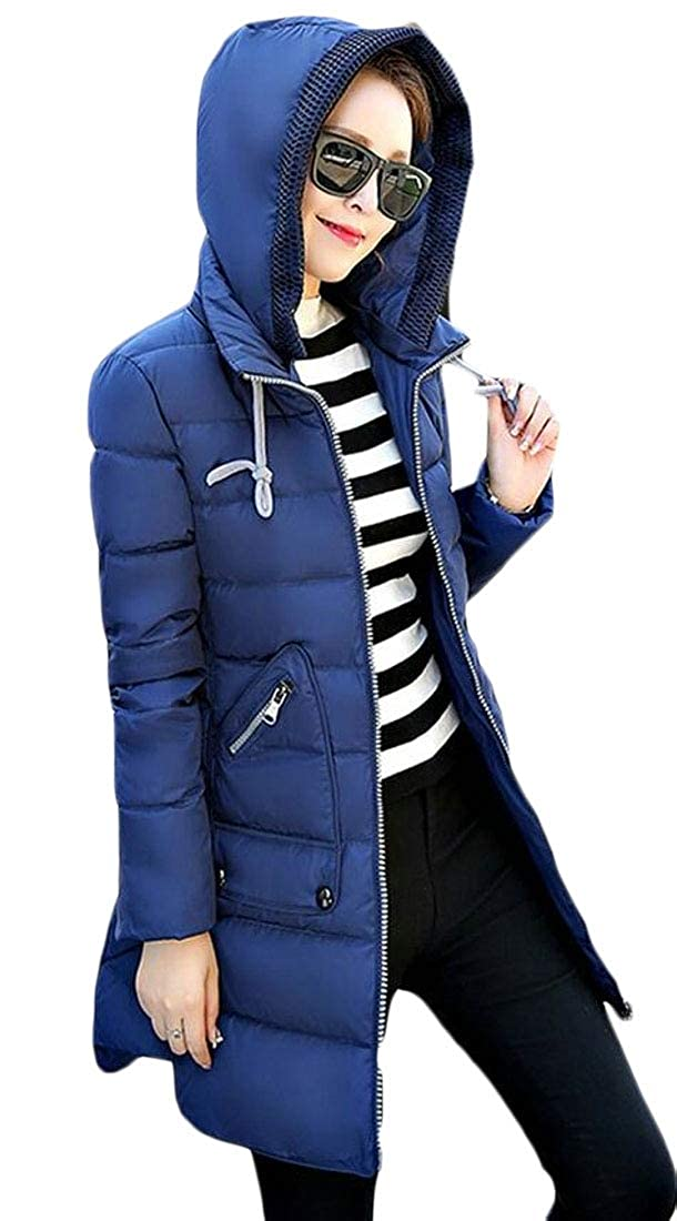 Denim bluee LEISHOP Women's Parka Jacket Quilted Down Outerwear with Removable Hood