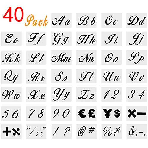 Onene 40 pieces Letter Stencils for Painting on Wood, Alphabet Letter Templates with Numbers and Signs, Reusable Plastic Art Craft Stencils with Calligraphy Font Upper and Lowercase Letters