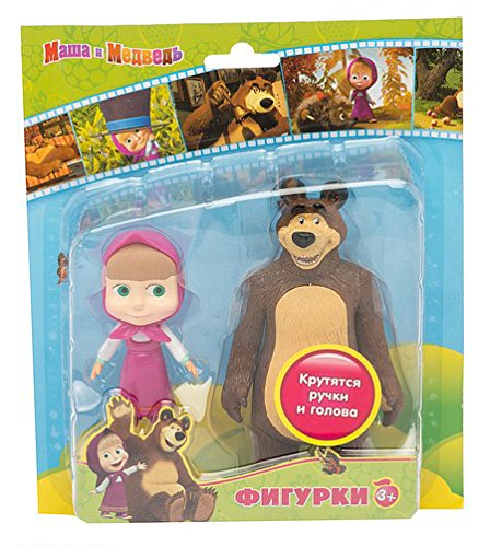 2psc Plastic Toys 15 cm Masha and the Bear Kids Birthday Party Favor Baby Gift Easter (moving head and hands) cake cupcake topper by Masha and the Bear
