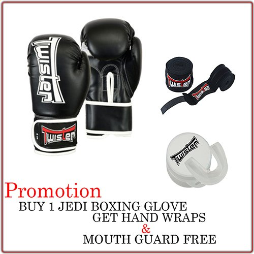 (Twister Boxing Gloves Set with Hand Wrap + Mouth Guard PU Strong Long Life (14oz))