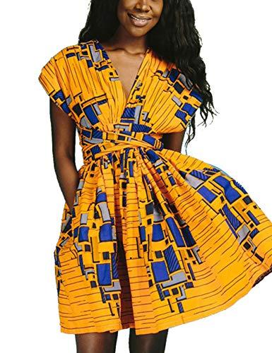 HUHHRRY Women Sexy V Neck Sleeveless Midi Skirt Evening Club Outfits Multi-Way Wrap Dress with Belt