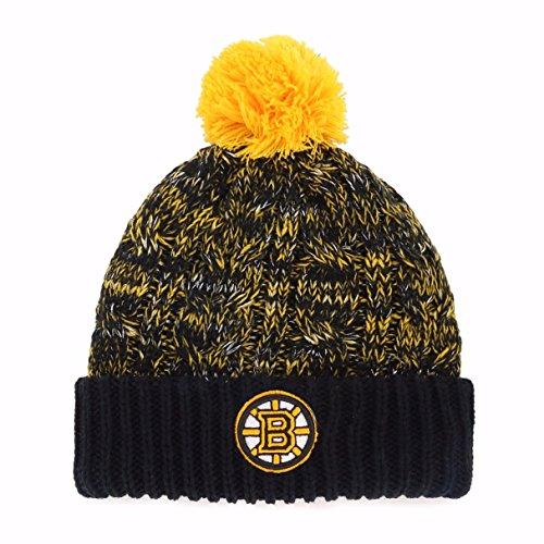 OTS NHL Boston Bruins Women's Brilyn Cuff Knit Cap with Pom, Team Color, Women's (Boston Bruins Pom Beanie)