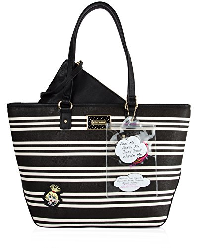 Betsey Johnson Iconic Patches Tote with Wristlet Pouch (2 Piece set) - Stripe
