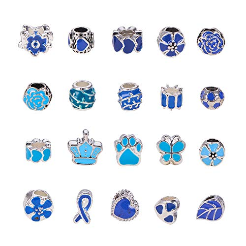 PandaHall Elite 40 Pcs 20 Shapes Murano Alloy Enamel European Beads Large Hole Spacer Bead Dangle Pendant Charms Fit Snake Style Charm Bracelet Necklace, Blue