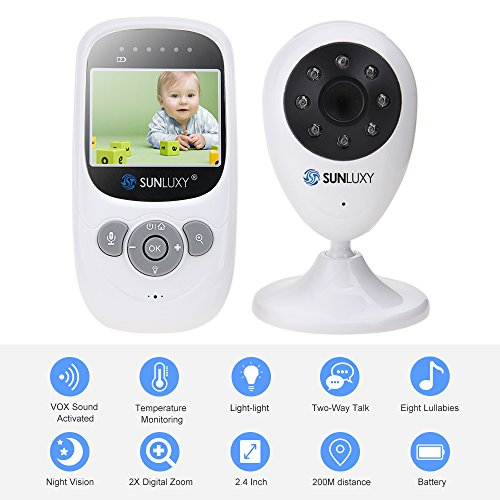 SUNLUXY® Wireless Babyphone Baby Monitor Überwachungskamera mit 2.4 Zoll LCD Farb Display Nachsicht 2-Wege-Gegensprechfunktion mit 2X Digitalzoom.