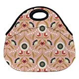 DKISEE Drawing Room Blooms On Rose Large & Thick Neoprene Lunch Bags Insulated