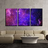 wall26 - 3 Piece Canvas Wall Art - Galaxy Stars. Abstract Space Background. Elements of This Image Furnished by Nasa - Modern Home Decor Stretched and Framed Ready to Hang - 24''x36''x3 Panels