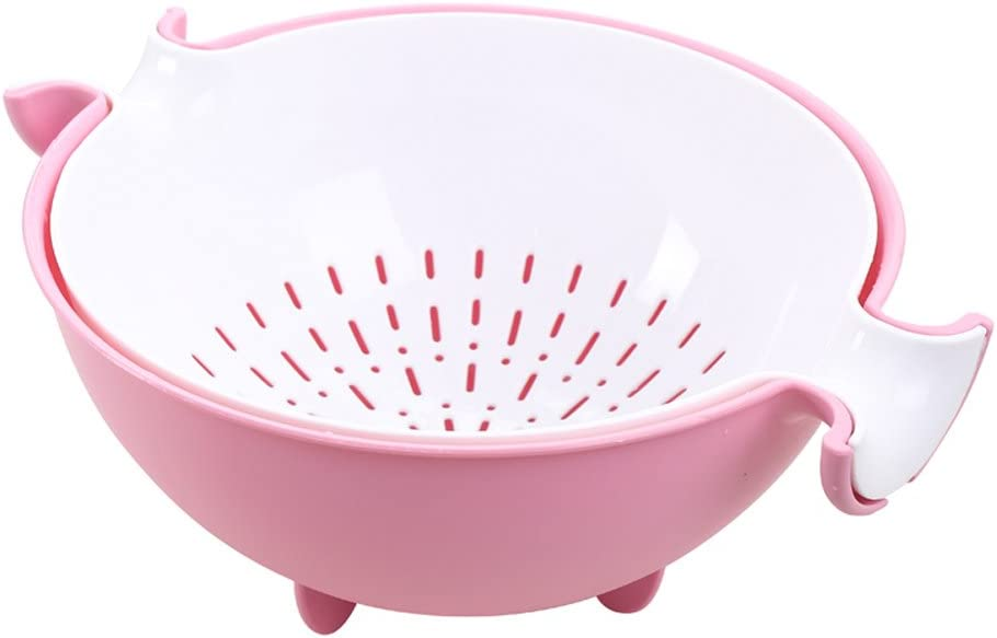 CHICHIC 2 in 1 Kitchen Strainer/Colander Bowl Sets, Large Plastic Washing Bowl and Strainer, Detachable Colanders Strainers Set, Space Saver for Fruits Vegetable Cleaning Washing Mixing, Pink