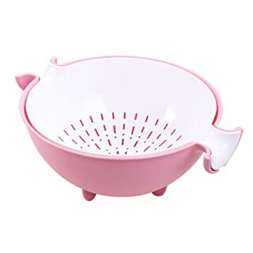 Set of Kitchen Strainer Sturdy Plastic Solid Color Strainers for Fruit Vegetable
