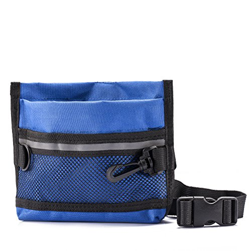 Depets Dog Treat Pouch, Pet Training Waist Bag with Easy Open-Close Spring Hinge and Front Mesh Pocket, Easily Carries Snacks and Toys, L8.86 in X H7.1 in