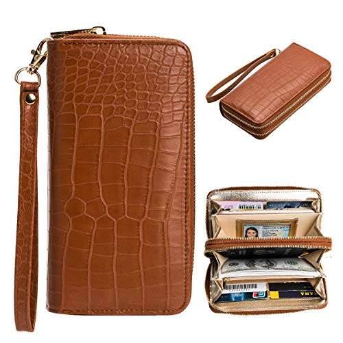 - Heaye Alligator Print Wallet Women Crocodile Embossed Wristlet RFID Blocking 16 Card Slots