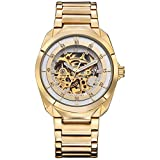Sweetbless Wristwatch Men's Crystal Skeleton Auto Mechanical Stainless Steel Watch