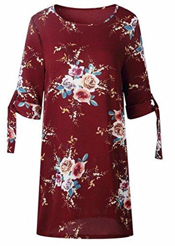 Domple Femmes 1/2 Manches Mini-casual Été De Mode Robe À Fleurs 5
