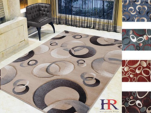 Handcraft Rugs Abstract Round and Oval pattern design, Hand Carved Dimensional 3D Effect, Thick Modern Area Rug. (5x7, Champagne)