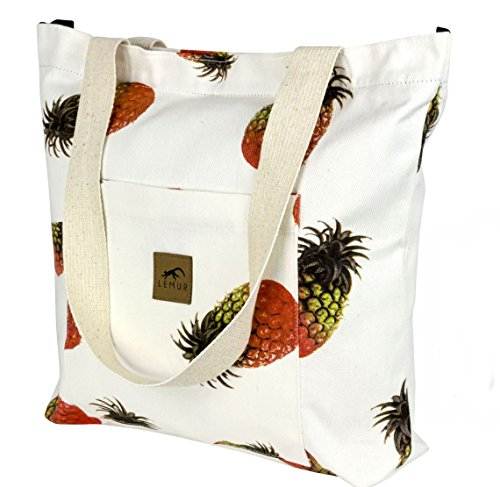 Canvas Shoulder Tote Bag - Large Eco-Friendly Zippered Tote with Front Pocket for Everyday, Shopping, Beach, Travel by Lemur Bags (Pineapples)