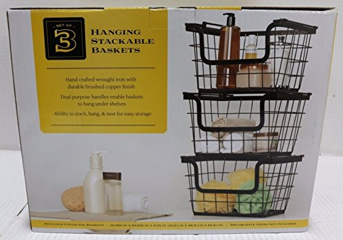 Giftburg Wrought-Iron Hanging Stackable Baskets with Copper Finish (Copper Baskets Hanging)