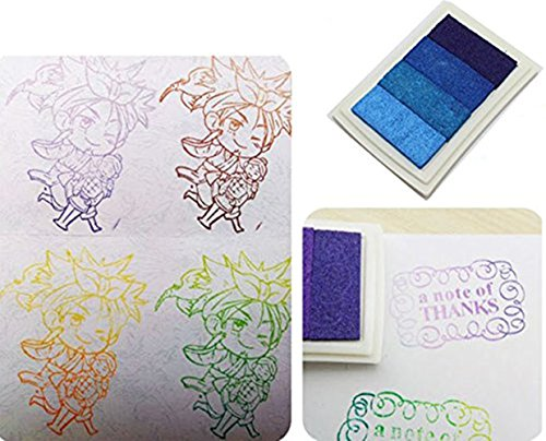 Aokbean Classic Pigment Crafts Bright Rubber Stamp Ink Pads Rainbow SET (Set of 6)
