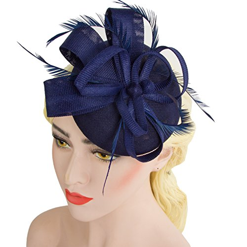 Acecharming Fascinators Women, Feather Sinamay Fascinators Headbands Tea Party Pillbox Hat Flower Derby Hats(Navy Blue-02) by Acecharming