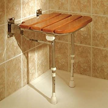 Luxury Polished Adjustable Height Wooden Slatted Shower Seat ...