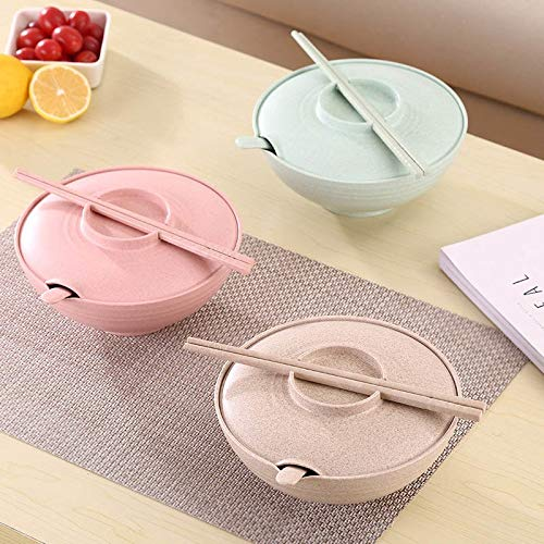 Dinnerware Sets - Wheat Straw Bowl Salad Instant Noodles Large Soup Household Tableware With Lid Set Random Color - Basics Navy Gibson Sage Sets Polish Floral Unbreakable Europe Ivory ()