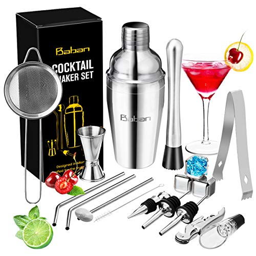 Cocktail Shaker Set/Bartender Kit, Baban 17 Pcs Stainless Steel Bar Tool Sets with 18oz Cocktail Shaker/Whiskey Stones/Fine Mesh Sieve Strainer/Straws, Professional Bar Accessories with Cocktail Book