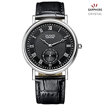 Jiusko Sapphire Mens Classic Black Leather Round Quartz Dress Watch Roman Numerals 132