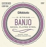 D\'Addario EJ57 Nickel 5-String Banjo Strings, Custom Medium, 11-22