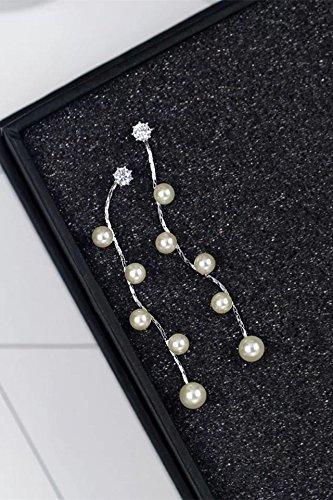 Generic After s925 silver earrings fashion style zircon Micro Pave earrings pearl tassel earrings women girls lady ornaments