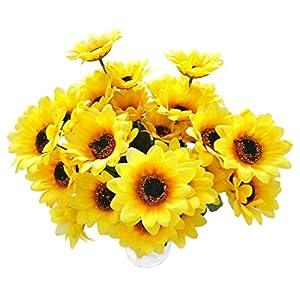 "Hagao Sunflowers Artificial Flowers Bouquet for Home Decoration/Wedding Decor 4 Sets(7 Stems/Set) 11.8"" 15"